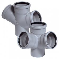 Крестовина для внутренней канализации 45 град 50-50-50