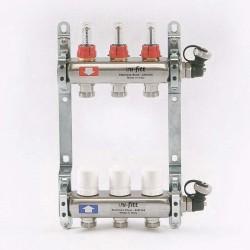 """Коллекторная группа 1""""х3/4"""" 3 вых., с расходомерами и термостатическими вентилями"""