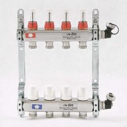 """Коллекторная группа 1""""х3/4"""" 4 вых., с расходомерами и термостатическими вентилями"""