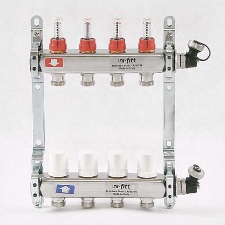"""Коллекторная группа 1""""х3/4"""" 4 вых из нержавеющей стали с расходомерами и термостатическими вентилями"""
