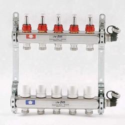 """Коллекторная группа 1""""х3/4"""" 5 вых., с расходомерами и термостатическими вентилями"""