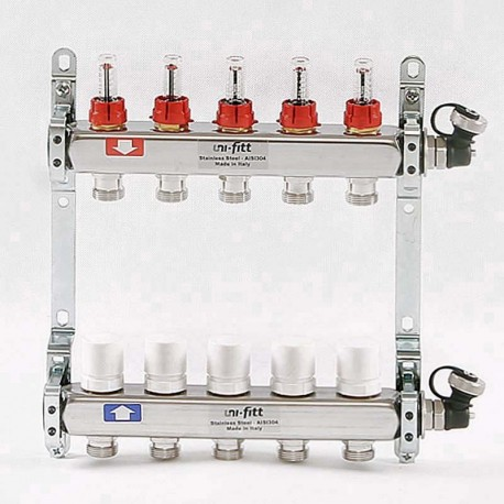 """Коллекторная группа 1""""х3/4"""" 5 вых из нержавеющей стали с расходомерами и термостатическими вентилями"""