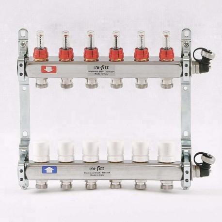 """Коллекторная группа 1""""х3/4"""" 6 вых., с расходомерами и термостатическими вентилями"""