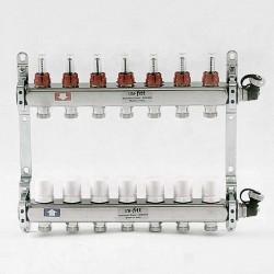 """Коллекторная группа 1""""х3/4"""" 7 вых., с расходомерами и термостатическими вентилями"""