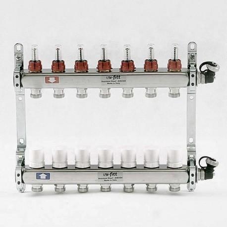 """Коллекторная группа 1""""х3/4"""" 7 вых из нержавеющей стали с расходомерами и термостатическими вентилями"""
