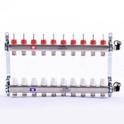 """Коллекторная группа 1""""х3/4"""" 10 вых., с расходомерами и термостатическими вентилями"""