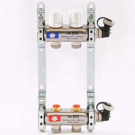 Коллекторная группа 1'х3/4' 2 вых с регулировочными и термостатическими вентилями