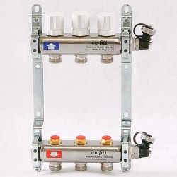 Коллекторная группа 1'х3/4' 3 вых с регулировочными и термостатическими вентилями