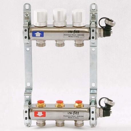 Колл.группа 1'х3/4' 3 вых с регулировочными и термостатическими вентилями, нерж. сталь