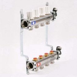 Коллекторная группа 1'х3/4' 4 вых с регулировочными и термостатическими вентилями