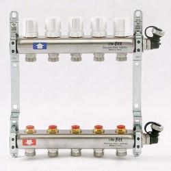 Коллекторная группа 1'х3/4' 5 вых с регулировочными и термостатическими вентилями