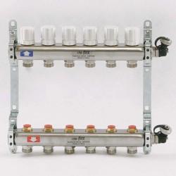 Коллекторная группа 1'х3/4' 6 вых с регулировочными и термостатическими вентилями
