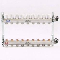 Коллекторная группа 1'х3/4' 9 вых с регулировочными и термостатическими вентилями