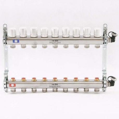 Колл.группа 1'х3/4' 9 вых с регулировочными и термостатическими вентилями, нерж. сталь