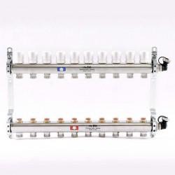 Колл.группа 1'х3/4' 10 вых с регулировочными и термостатическими вентилями, нерж. сталь