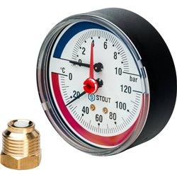 STOUT SIM-0005 Термоманометр аксиальный в комплекте с автоматическим запорным клапаном. Корпус Dn 80 мм 1/2&quot, 0...120°C, 0-1