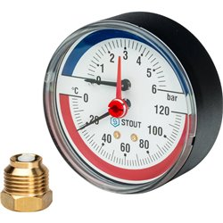 STOUT SIM-0005 Термоманометр аксиальный в комплекте с автоматическим запорным клапаном. Корпус Dn 80 мм 1/2&quot, 0...120°C, 0-6