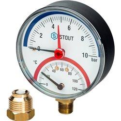 STOUT SIM-0006 Термоманометр радиальный в комплекте с автоматическим запорным клапаном. Корпус Dn 80 мм 1/2&quot, 0...120°C, 0-1