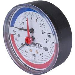 Watts F+R818 Термоманометр аксиальный 6х1/2&quot DN 80 (0-6 бар)