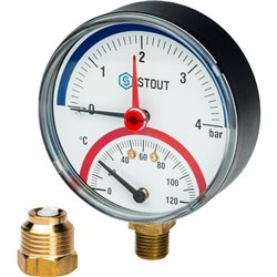 STOUT SIM-0006 Термоманометр радиальный в комплекте с автоматическим запорным клапаном. Корпус Dn 80 мм 1/2&quot, 0...120°C, 0-4
