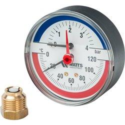 Watts FR 818(TMAX) 4 Термоманометр аксиальный 1/2&quot x 4 бар (80мм)