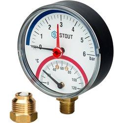 STOUT SIM-0006 Термоманометр радиальный в комплекте с автоматическим запорным клапаном. Корпус Dn 80 мм 1/2&quot, 0...120°C, 0-6