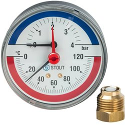 STOUT SIM-0005 Термоманометр аксиальный в комплекте с автоматическим запорным клапаном. Корпус Dn 80 мм 1/2&quot, 0...120°C, 0-4
