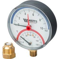 Watts F+R828 Термоманометр радиальный 10х1/2&quot DN 80 (0-10 бар)