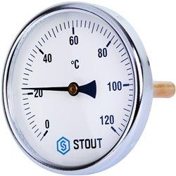 STOUT SIM-0001 Термометр биметаллический с погружной гильзой. Корпус Dn 100 мм, гильза 100 мм 1/2&quot, 0...120°С