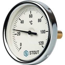 STOUT SIM-0001 Термометр биметаллический с погружной гильзой. Корпус Dn 80 мм, гильза 50 мм 1/2&quot, 0...120°С