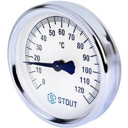 STOUT SIM-0004 Термометр биметаллический накладной с пружиной. Корпус Dn 80 мм, 0...120°С, 1&quot-2&quot