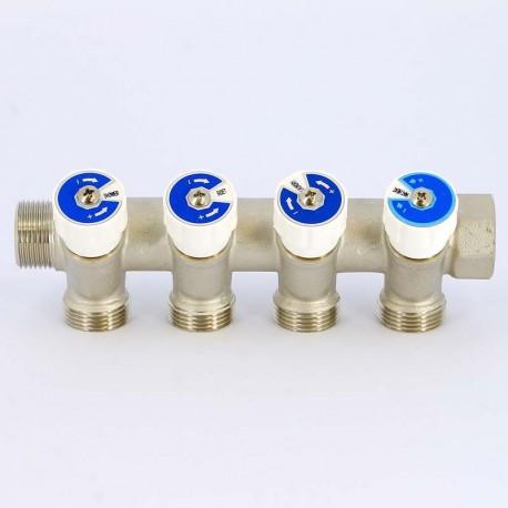 Коллектор НВ 3/4 4x3/4 ЕK Н 40мм некилированный с вентилями UNI-FITT