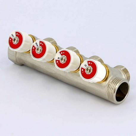 Коллектор НВ 1 4x3/4 ЕK Н 40мм некилированный с вентилями Uni-Fitt
