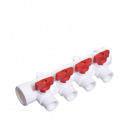 Коллектор с кранами 32х20х5 (красный,синий) PPR