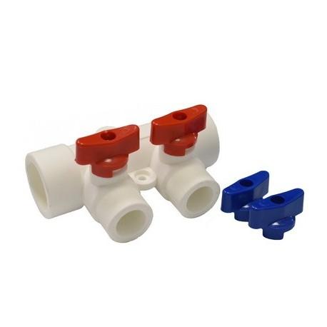 Коллектор с кранами 32х20х3 (красный,синий) PPR
