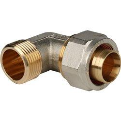 STOUT Угольник-переходник с наружной резьбой 1&quotx32 для металлопластиковых труб винтовой