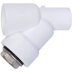 Политэк d25 Фильтр (соединение муфта-штуцер) для полипропиленовых труб под сварку (цвет белый)