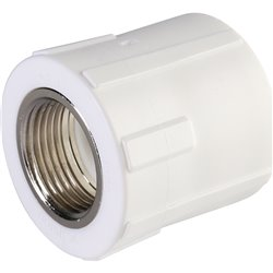 Политэк 32х3/4&quot Муфта комбинированная внутр. резьба для полипропиленовых труб под сварку (цвет белый)