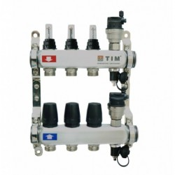 Коллектор 1x3/4 на 6 выхода с расходомерами и термостатическими вентилями без кранов нержавейка TIM